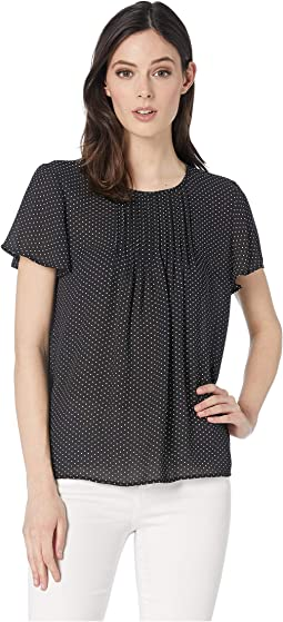 Short Sleeve Refined Pindot Pintuck Blouse
