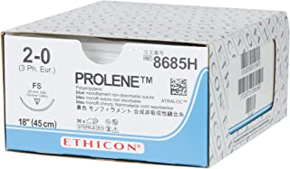 Ethicon PROLENE Polypropylene Suture, 8685H, Synthetic Non-absorbable, FS (26 mm), 3/8 Circle Needle, Size 2-0, 18'' (45 cm)