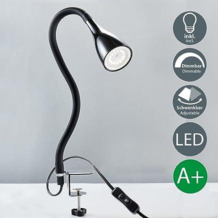 LED Klemmleuchte inkl 1x GU10 5W 400lm dimmbare Bettleuchte mit 3 Helligkeitstufen 360° Flexibel Schwanenhals weiße Leselampe für Schlafzimmer Schreibtisch Büro Metall Kunststoff