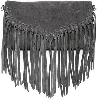 The Lillian Suede Leather Fringe Crossbody Bag Suede Handbags