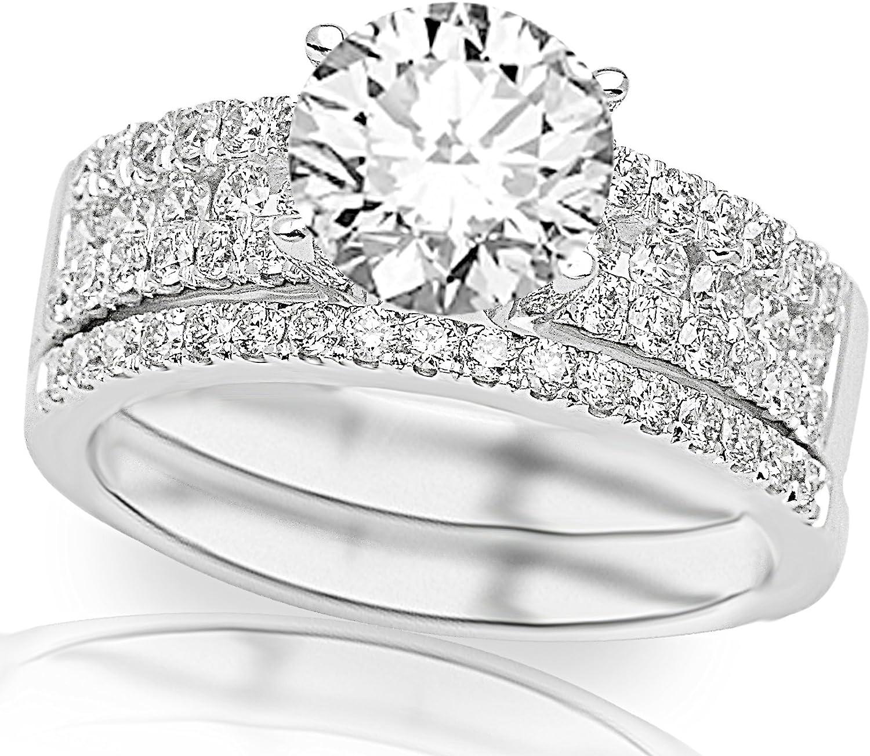 2.86 Ct Diamond Engagement Ring White Gold finish Band Sets VVS1//D Size M N