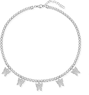 Fesciory Butterfly Necklaces for Women, 14k Gold Tennis Chain Choker Necklaces Girls Rhinestone Pendant Jewelry Gifts