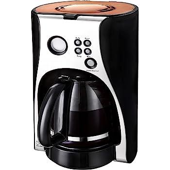 Team Kalorik Cafetera de filtro con temporizador, Capacidad 1.5 L, Jarra de Vidrio, Hasta 12 tazas, 1100 W, Plateado/Negro/Cobre, TKG CM 1050 TCO: Amazon.es: Hogar
