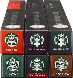 Starbucks Nespresso complete set, koffiecapsules, compatibel met Nespresso, alle soorten, koffiecapsules, 6 x 10 capsules