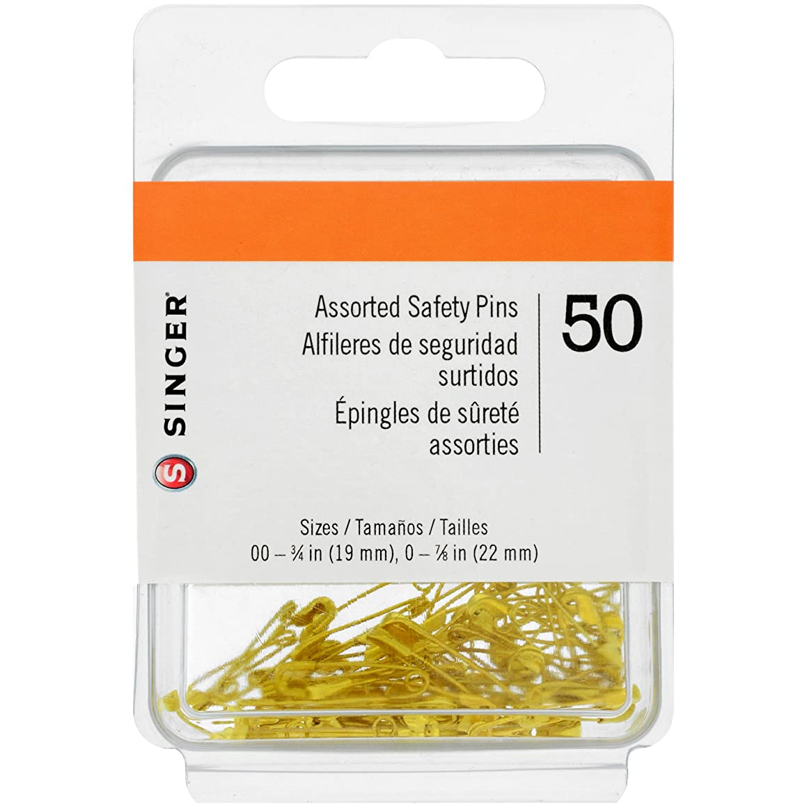 SINGER 00224 Assorted Safety Pins, Multisize, Gilt Plated, 50-Count