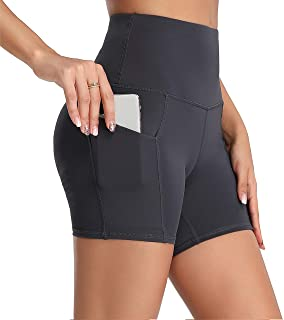Oalka Women's Short Yoga Side Pockets High Waist Workout Running Sports Shorts 4""