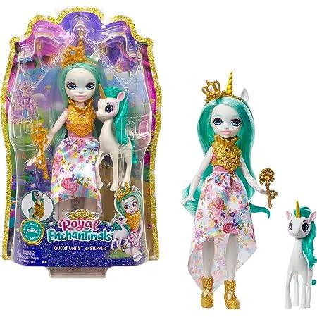 Royal Enchantimals Reina Unity y Stepper, muñeca unicornio con mascota articulada de juguete (Mattel GYJ13)