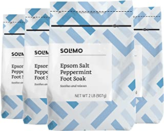 Amazon Brand - Solimo Soothing & Relaxing Peppermint Epsom Salt Foot Soak, 2 Pound (Pack of 4)