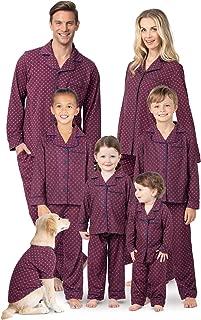 PajamaGram Matching Pajamas for Family - Button-Up Matching Family Pajamas, Red