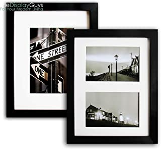 The Display Guys~ 2 Sets 8x10 Inch Black Picture Frame Made of Solid Pine Wood and Real Glass, Luxury Made Affordable, with White Core Mat Boards 2 for 5x7 Photo + 2 for 2-4x6 Photos … (Black)