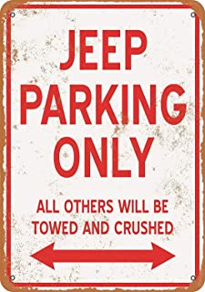 Tengss 8 x 12 Metal Sign - Jeep Parking ONLY - Vintage Look