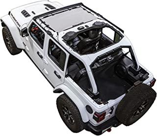 SPIDERWEBSHADE Jeep Wrangler JLKini Mesh Shade Top Sunshade UV Protection Accessory USA Made with 10 Year Warranty for Your JL 2-Door and JLU 4-Door (2018 - current) in White