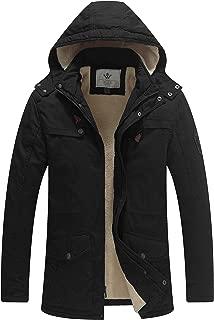Men's Cotton Heavy Sherpa Lined Warm Coat Removable Hooded Parka Jacket