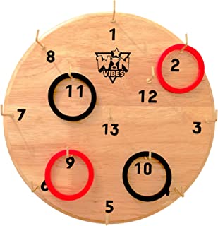 Hook and Ring Toss Game by Win Vibes - Classic Fun Hookey Game for Adults Teens and Kids - Birthday Idea for Men - Beautiful Solid Board - Easy Set-Up with Clear Rules - Indoor and Outdoor Party Games