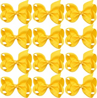 4 Inch Boutique Girls Hair Bows Hair Clips for Girls Toddlers 12 Pcs Solid Color (Yellow)