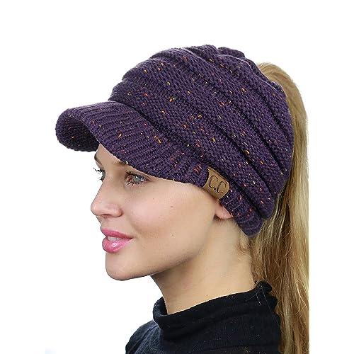8545cb0c C.C BeanieTail Warm Knit Messy High Bun Ponytail Visor Beanie Cap