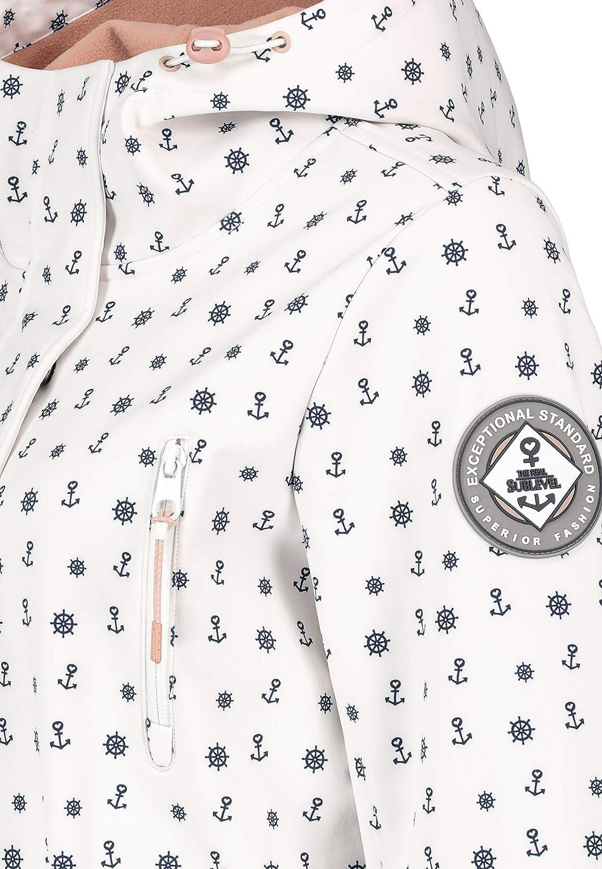 Sublevel Damen Softshell-Jacke Kurzmantel mit Kapuze & Print White