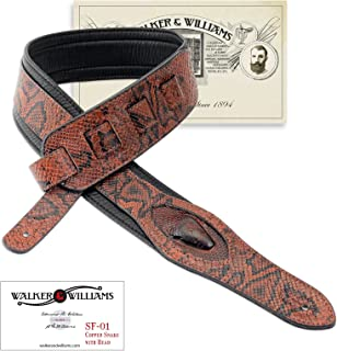 Walker & Williams SF-01 Copperhead Snakeskin Pattern Padded Guitar Strap with Snakehead