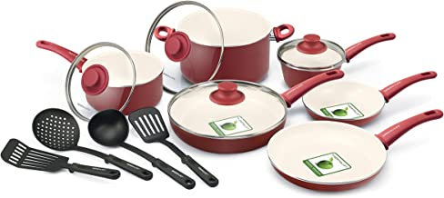 GreenLife CW0005103 Soft Grip Absolutely Toxin-Free Healthy Ceramic Nonstick Dishwasher/Oven Safe Stay Cool Handle Cookware Set, 14-Piece, Burgundy