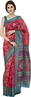 Elegant Printed Multi-Color Art Bhagalpuri Silk Latest Design Women Saree With Blouse Piece