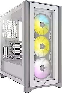 Corsair iCUE 4000X RGB CC-9011205-WW Tempered Glass Mid-Tower ATX Case, White