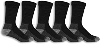 Fruit Of The Loom Men's Cotton Work Gear Crew Socks | Cushioned, Wicking, Durable | 5 Pack