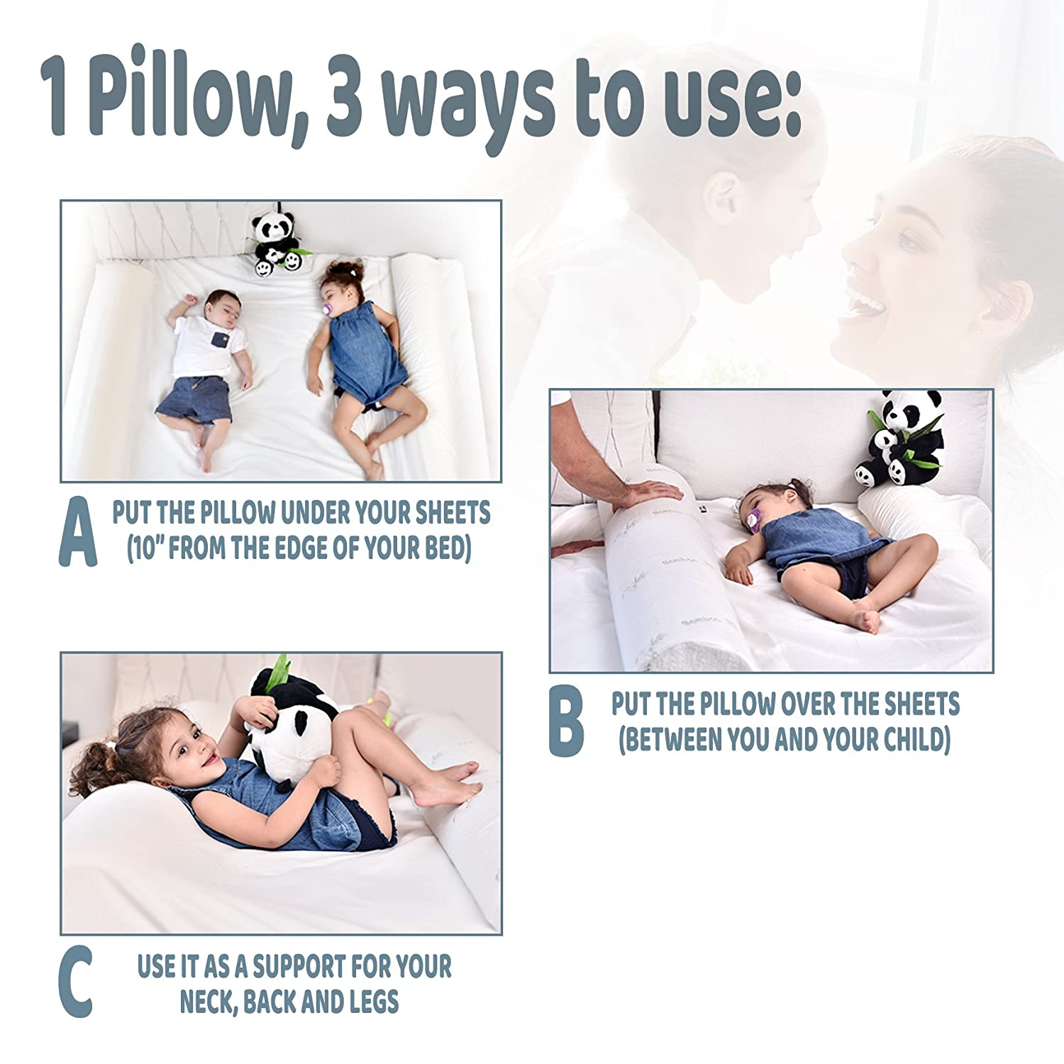 [XL - Bamboo] DreamyPanda Safety Bed Rail Bumper Pillow - Bamboo Cover and Portable Foam Guard for Toddlers, Kids, and Adults (Baby Pink)