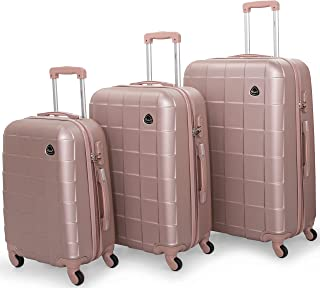 Senator Hard Shell Luggage Set Lightweight 3-Piece ABS Luggage Sets with Spinner Wheels 4 - A207 (Set of 3 (20/24/28), Ros...