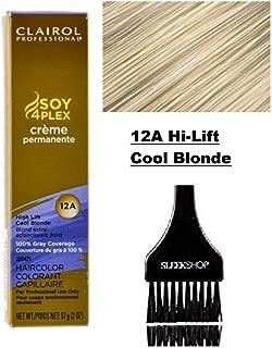 Clairol Soy4Plex Premium PERMANENT CREAM HAIR COLOR (w/Sleek Tint Brush) 100% Gray Coverage Creme Permanente Professional Grey Haircolor DYE (12A Hi-Lift Cool Blonde.)