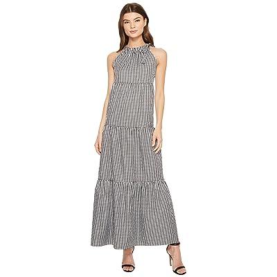 Maggy London Tied Maxi Halter Dress (Black/White) Women