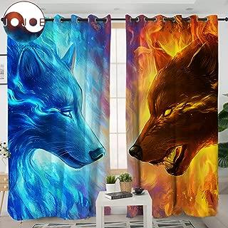 Sleepwish Fire Ice by JoJoesArt Wolf Curtains for Windows 3D Animal Panels Blackout Shades Men Curtains Grommet Curtain (2 Panels, 52x84 Inch, Grommet Top)