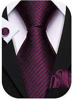 Barry.Wang Mens Ties Set Retro Plaid Necktie with Hanky Cufflinks Formal