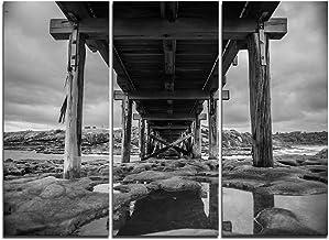 Designart Black and White Large Wooden Sea Bridge Canvas Wall Artwork-36x28in-Multipanel 3 Piece, 36x28-3 Panels