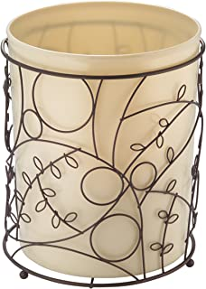 iDesign Twigz Metal Wire and Plastic Wastebasket Trash Can Garbage Can for Bathroom, Bedroom, Home Office, Kitchen, Patio, Dorm, College, Vanilla Tan and Bronze