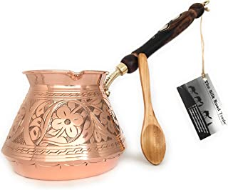 Series (XX-Large) - Thickest Solid Hammered and Engraved Copper Turkish Greek Arabic Coffee Pot with Wooden Handle/Stoveto...
