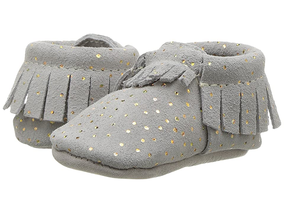 Freshly Picked Soft Sole Moccasins (Infant/Toddler) (Gray Confetti) Girl