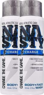 NASTY Charge Moisturizing Body Wash for Men & Women with Caffeine, 12 ounce (Pack of 2)