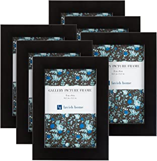 Picture Frame Set, 4x6 Frames Pack For Picture Gallery Wall With Stand and Hanging Hooks, Set of 6 By Lavish Home (Black)
