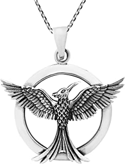 Amazing Rising Phoenix .925 Sterling Silver Pendant Necklace
