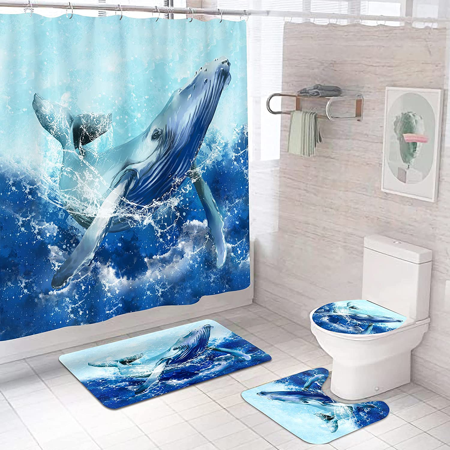 4 Pcs Blue Whale Bathroom Sets and Shower Mail order Rugs with Curtain San Jose Mall