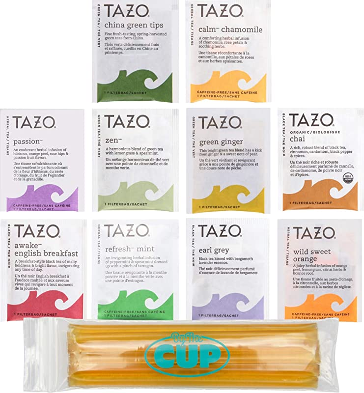 Tazo Tea Bags Sampler 20 Count Variety Gift Box 10 Different Flavors With By The Cup Honey Sticks