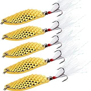 Sougayilang Spoons Hard Fishing Lures Treble Hooks Salmon Bass Metal Fishing Lure Baits 1 OZ 1/2 OZ