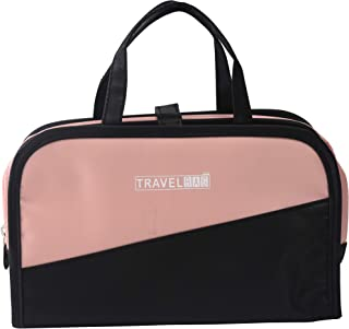 Pink Makeup and Cosmetic Bags Hanging Toiletry Bag Weekender Train Cases Personal Travel Organizer External Removable Clear Pouches Beauty Storage and Organization of Toiletries Medium Size