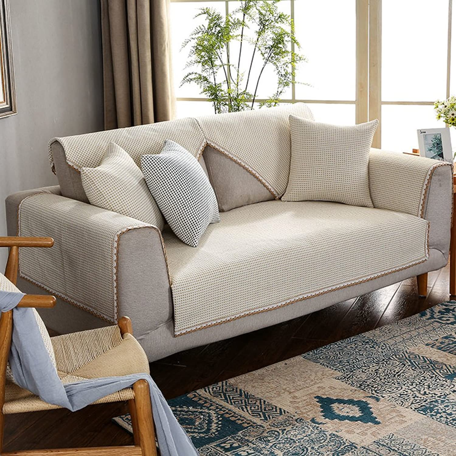 Sofa Cover,Dustproof Sofa Cover Reversible Quilting Cotton and Linen-D 110x210cm(43x83inch)