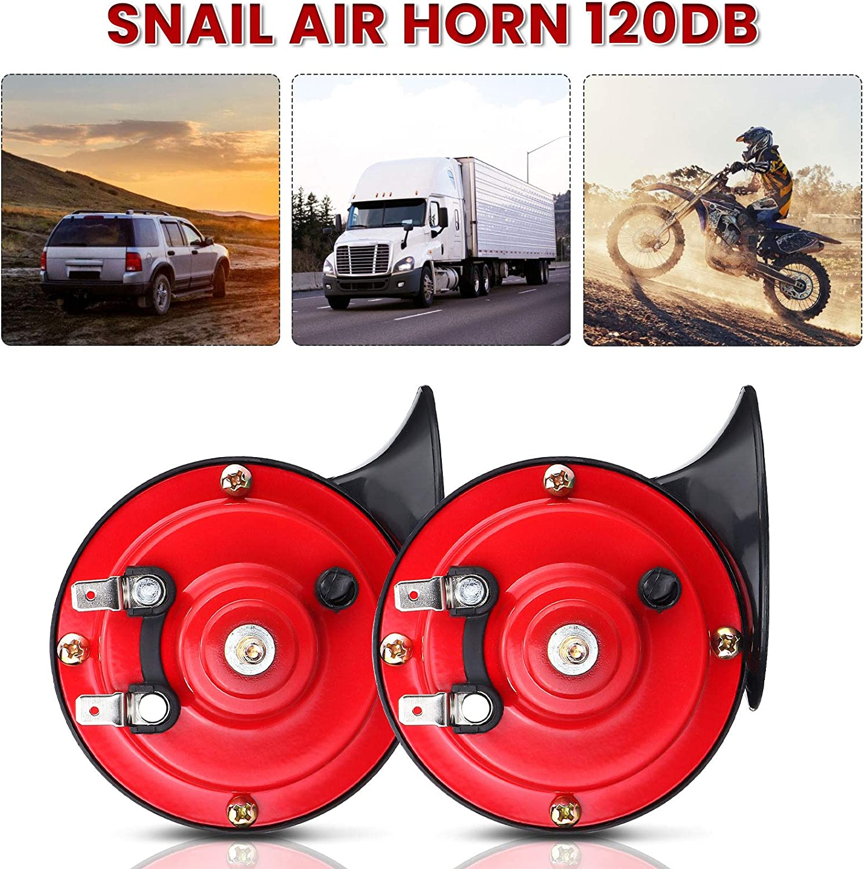 CAMTOA Car Horns 12v Electric Air Train Horn 120db Loud Waterproof Double Horn Snail Horns for Truck,Car,Motorcycle,Bike,Boat
