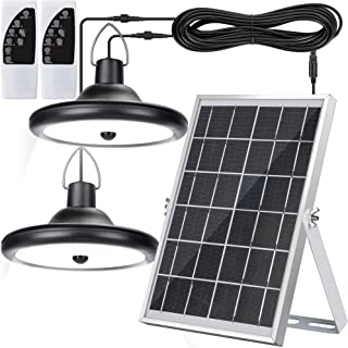 Upgraded Double Head Solar Pendant Light Motion Sensor JACKYLED IP65 Waterproof Outdoor LED Shed Light with Dimmable Remot...