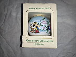 Ambassador Vintage 1981 Holiday House Collection Mickey Mouse & Friends Satin Christmas Ornament Donald Daisy Duck Goofy