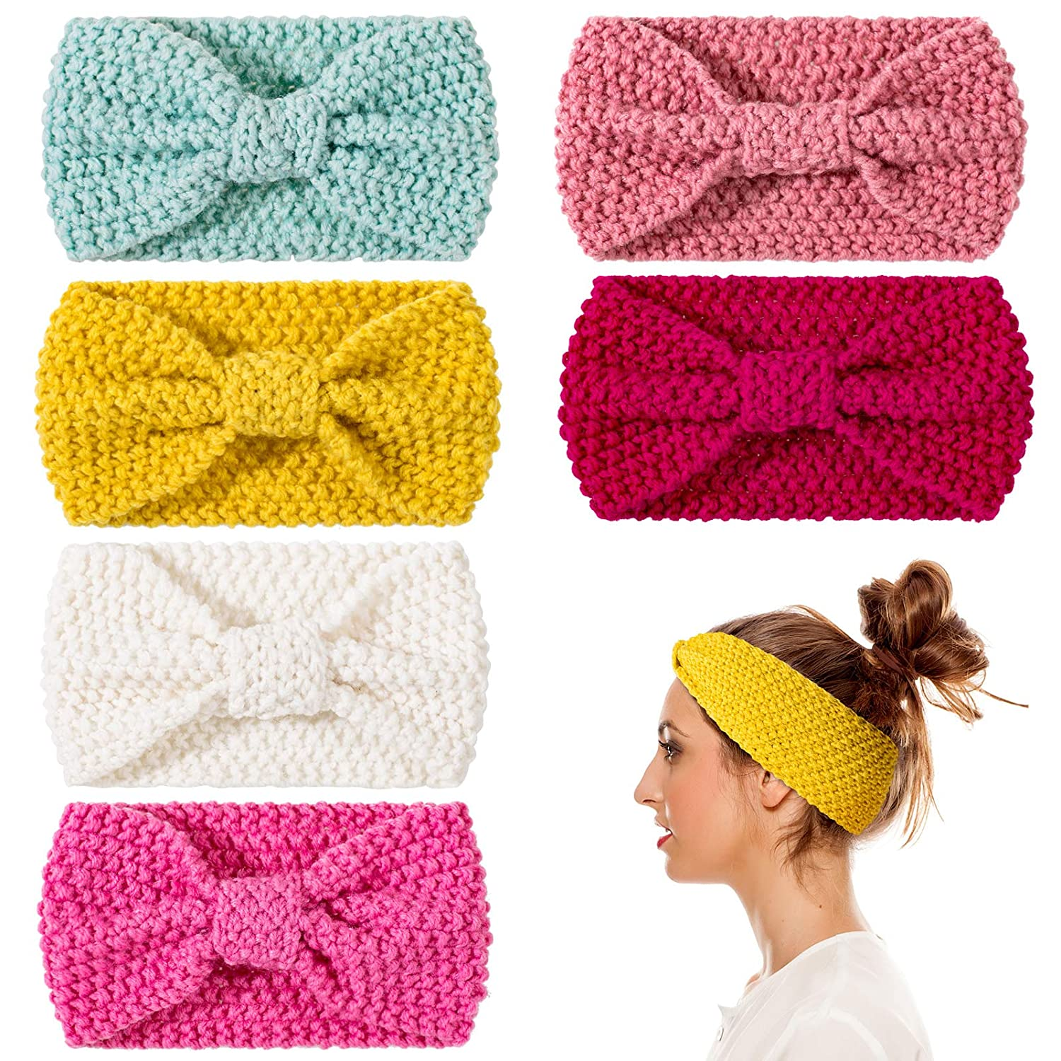Whaline 6 Pieces Knit Headbands Winter Ear Warmers, Elastic Turban Head Wraps with Crocheted Bow Knot, Hair Band Accessories, Hair Scrunchies Scarves for Women Girls (Candy Colors)