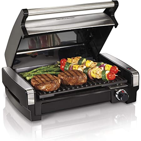 Hamilton Beach Electric Indoor Searing Grill Removable Easy-To-Clean Nonstick Plate, 6-Serving, Extra-Large Drip Tray, Stainless Steel (25360)