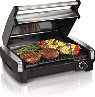 Hamilton Beach Electric Indoor Searing Grill Removable Easy-To-Clean Nonstick Plate, 6-Serving, Extra-Large Drip Tray, Sta...